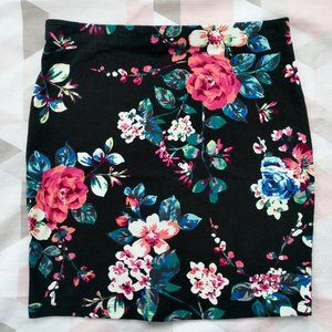 Express Floral Rose Bodycon Mini Skirt Size XS